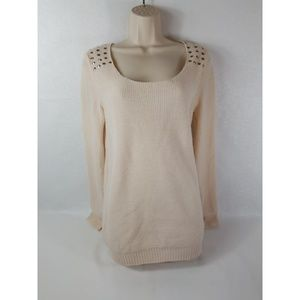 Cream Charlotte Russe Woman's Studded Knit Sweater